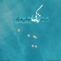 طراح: محمدرضا افشارنیا, در آستان زندگی نبود کس یاد مرگ در میان شعف و شادی آشیانی بود